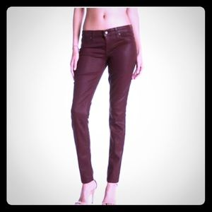 Midrise coated Burgandy color skinny jeans